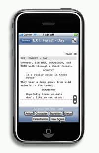 iPhone showing Screenplay app